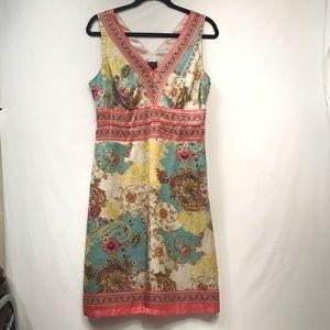 Nicole Miller • Colorful Sleeveless V-neck Dress